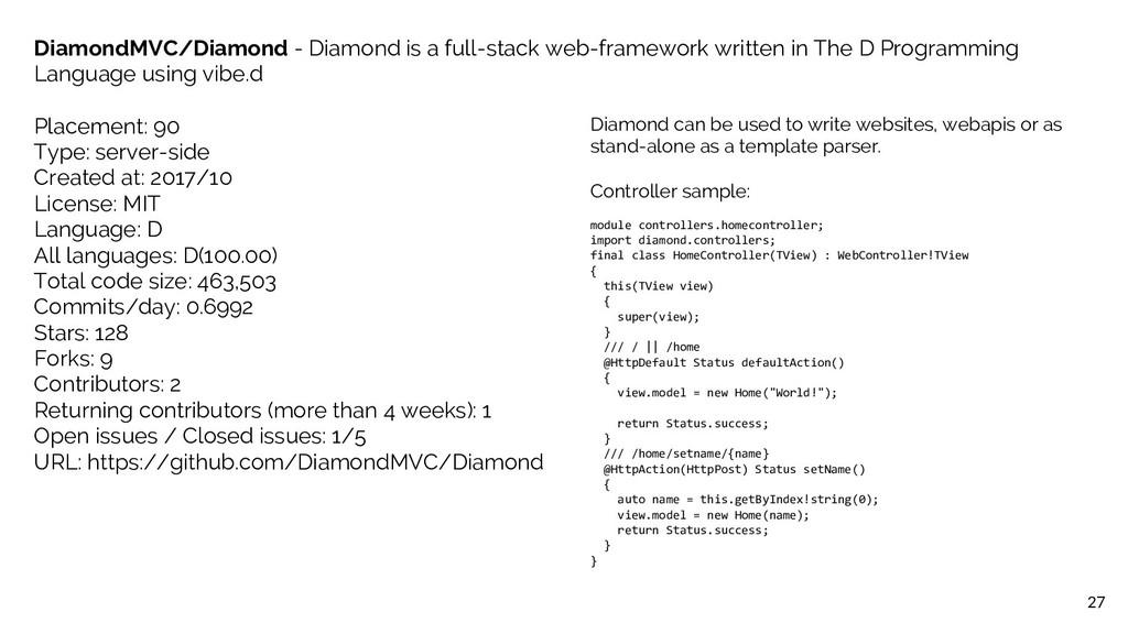 27 DiamondMVC/Diamond - Diamond is a full-stack...