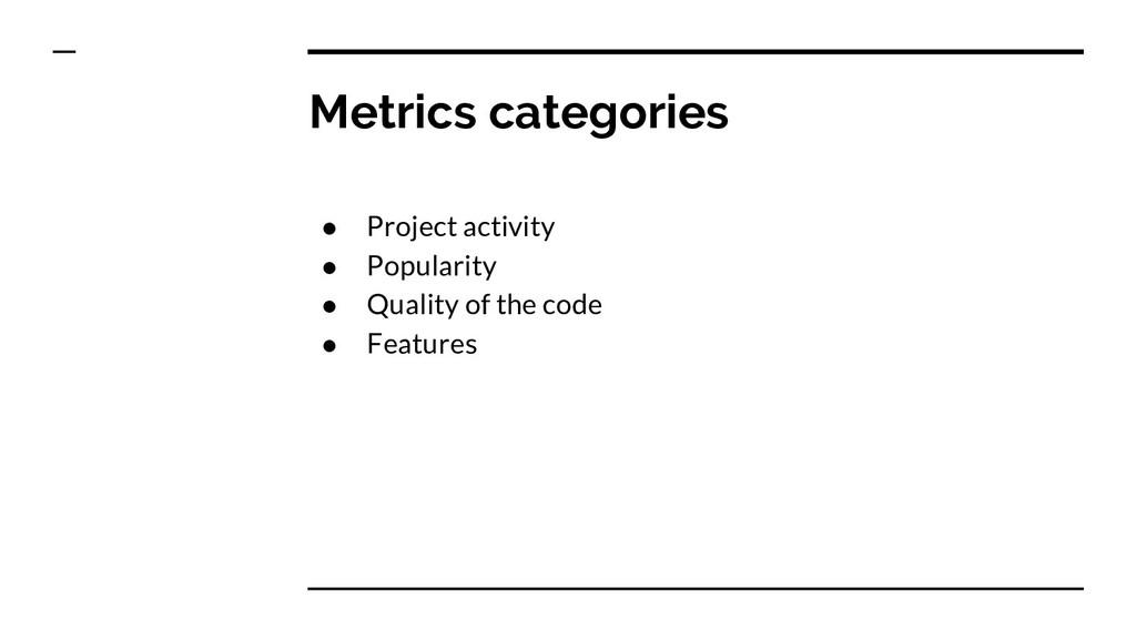 Metrics categories ● Project activity ● Popular...