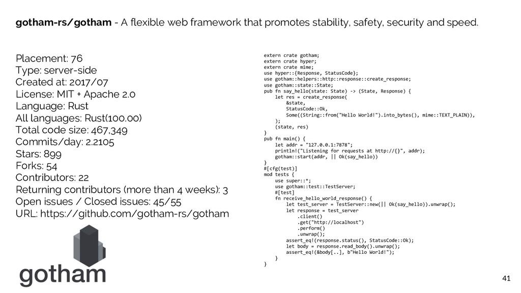 41 gotham-rs/gotham - A flexible web framework ...