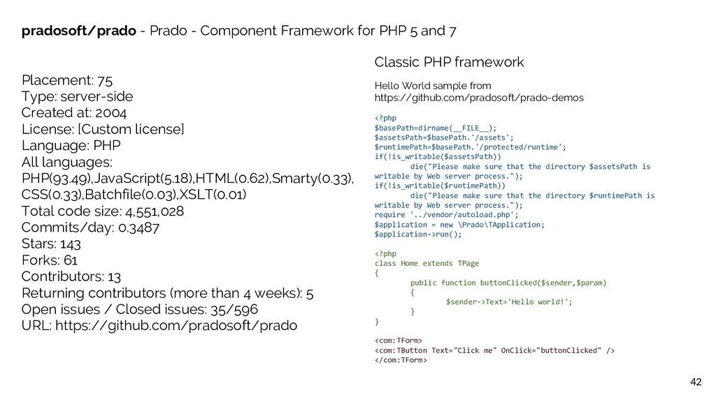 42 pradosoft/prado - Prado - Component Framewor...