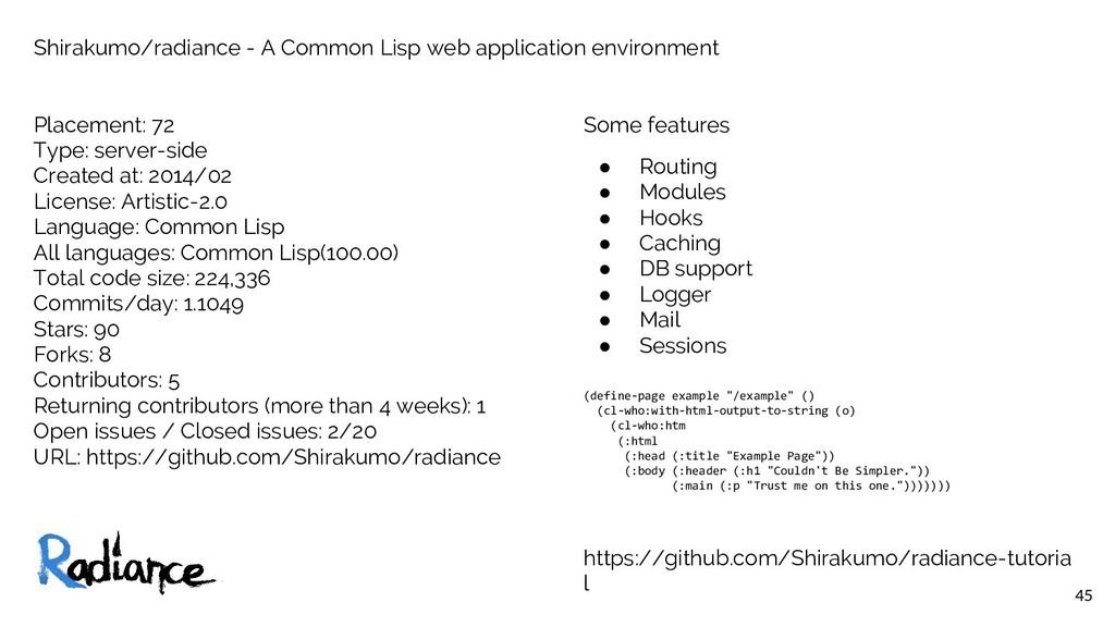 45 Shirakumo/radiance - A Common Lisp web appli...