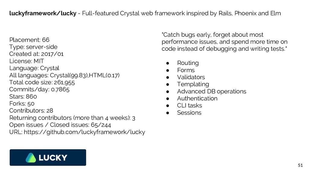 51 luckyframework/lucky - Full-featured Crystal...