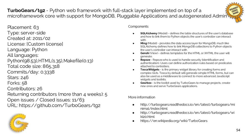 54 TurboGears/tg2 - Python web framework with f...