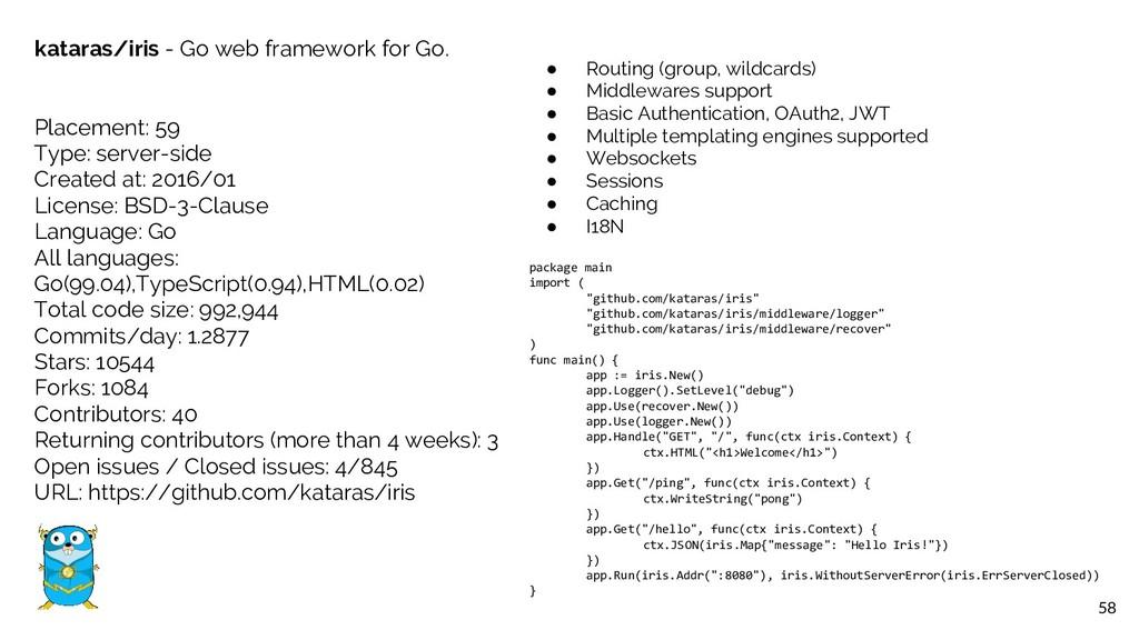 58 kataras/iris - Go web framework for Go. Plac...