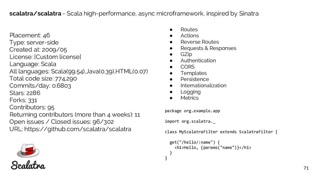 71 scalatra/scalatra - Scala high-performance, ...