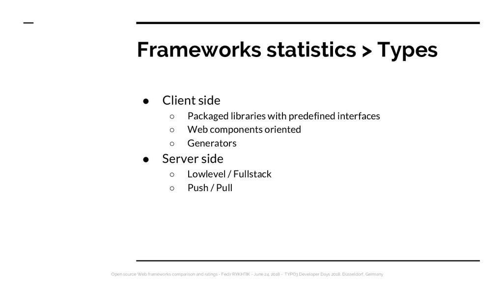 Frameworks statistics > Types ● Client side ○ P...