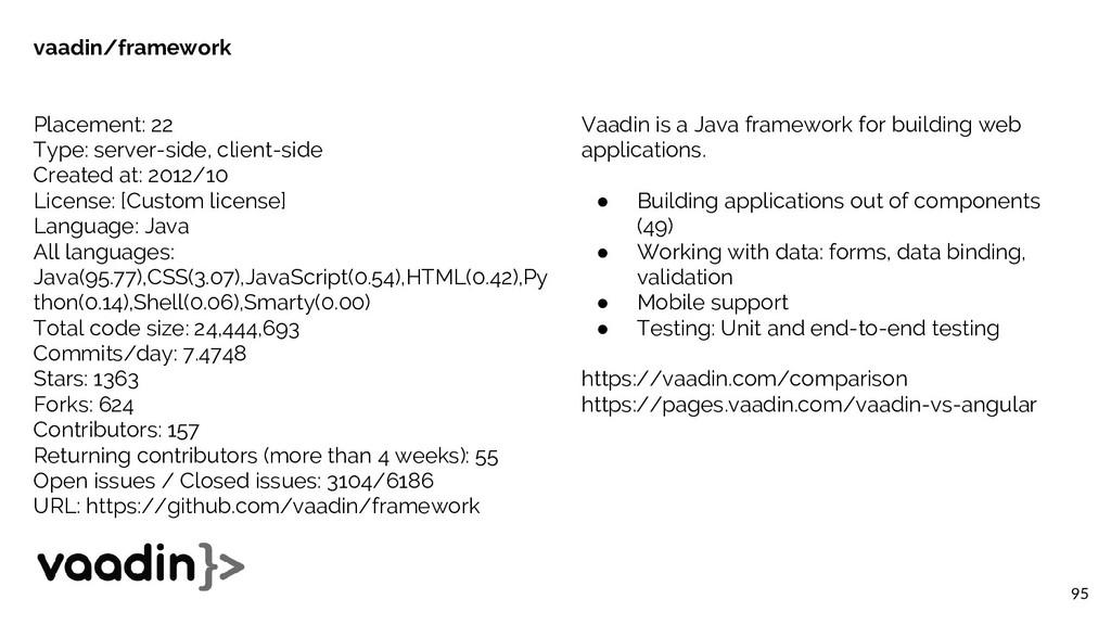 95 vaadin/framework Placement: 22 Type: server-...