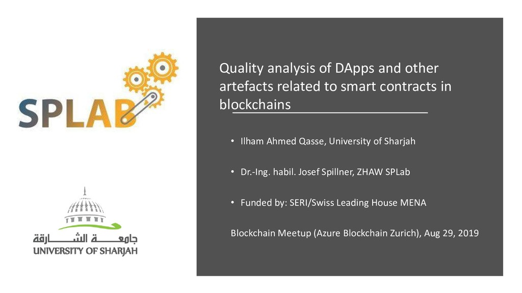 Quality analysis of DApps and other artefacts r...