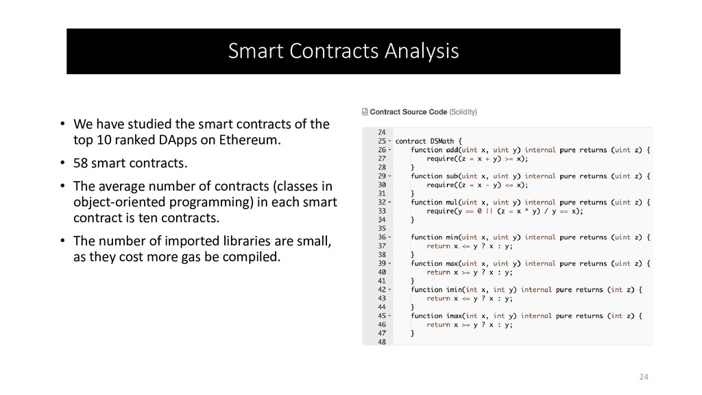 • We have studied the smart contracts of the to...