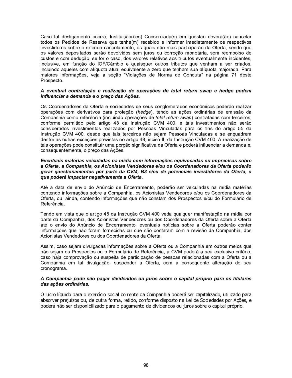 98 Caso tal desligamento ocorra, Instituição(õe...