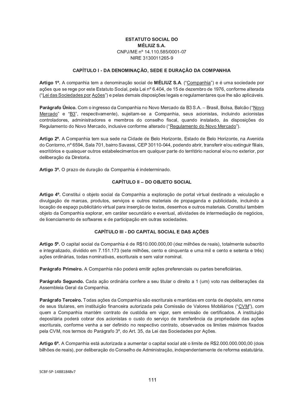 SCBF-SP-14881848v7 ESTATUTO SOCIAL DO MÉLIUZ S....