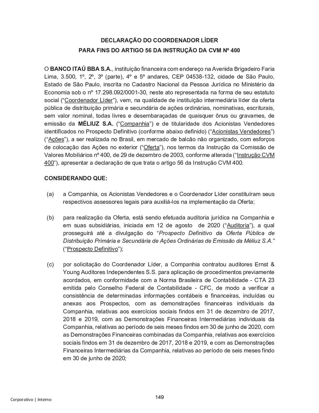 Corporativo | Interno DECLARAÇÃO DO COORDENADOR...
