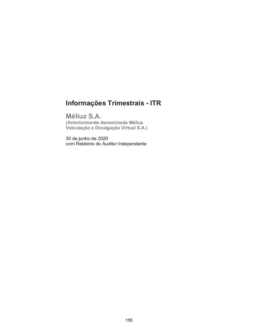Informações Trimestrais - ITR Méliuz S.A. (Ante...