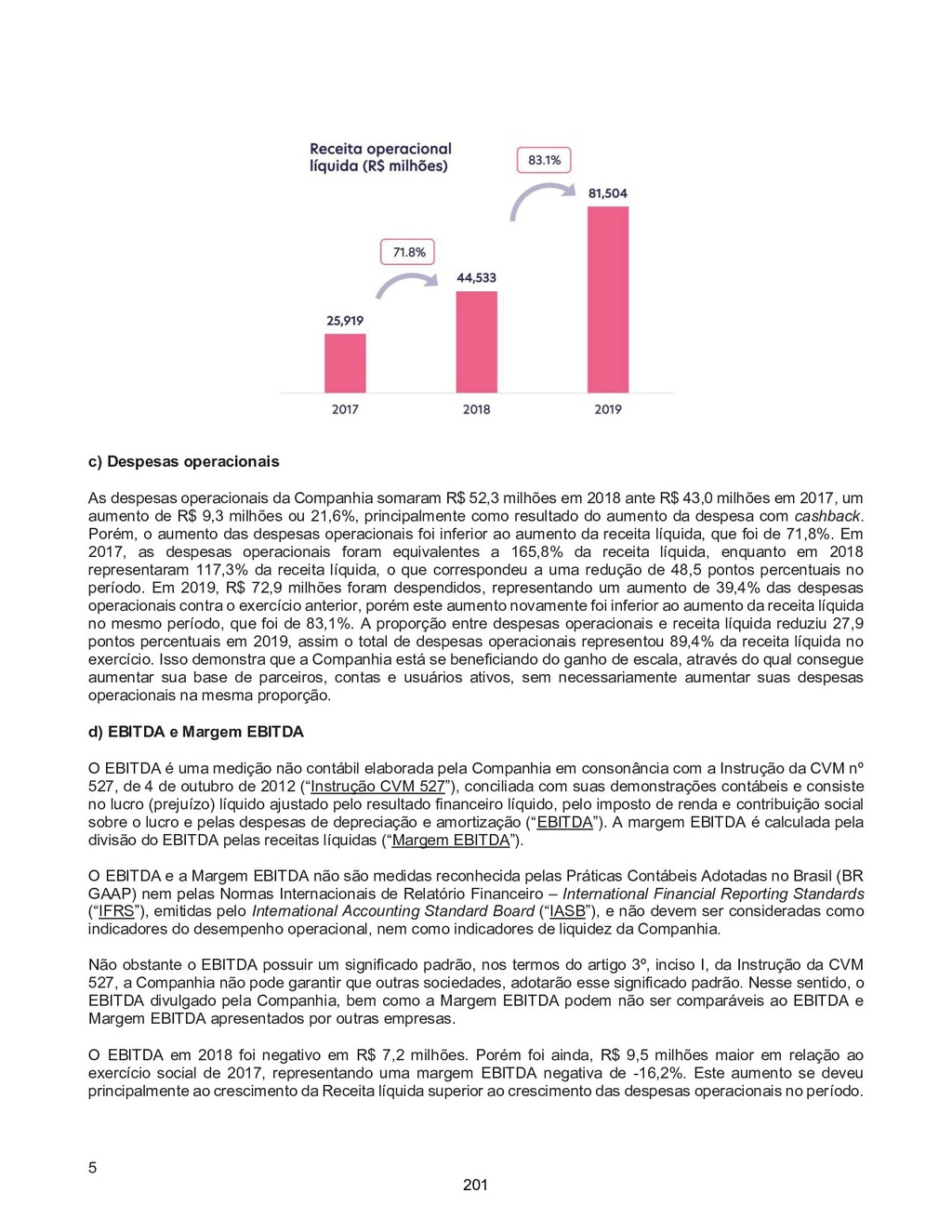 5 c) Despesas operacionais As despesas operacio...