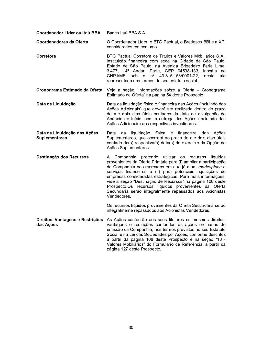 30 Coordenador Líder ou Itaú BBA Banco Itaú BBA...
