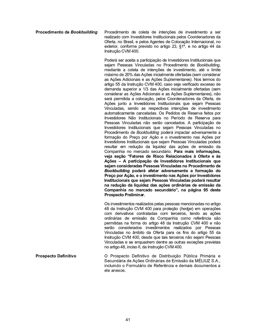 41 Procedimento de Bookbuilding Procedimento de...