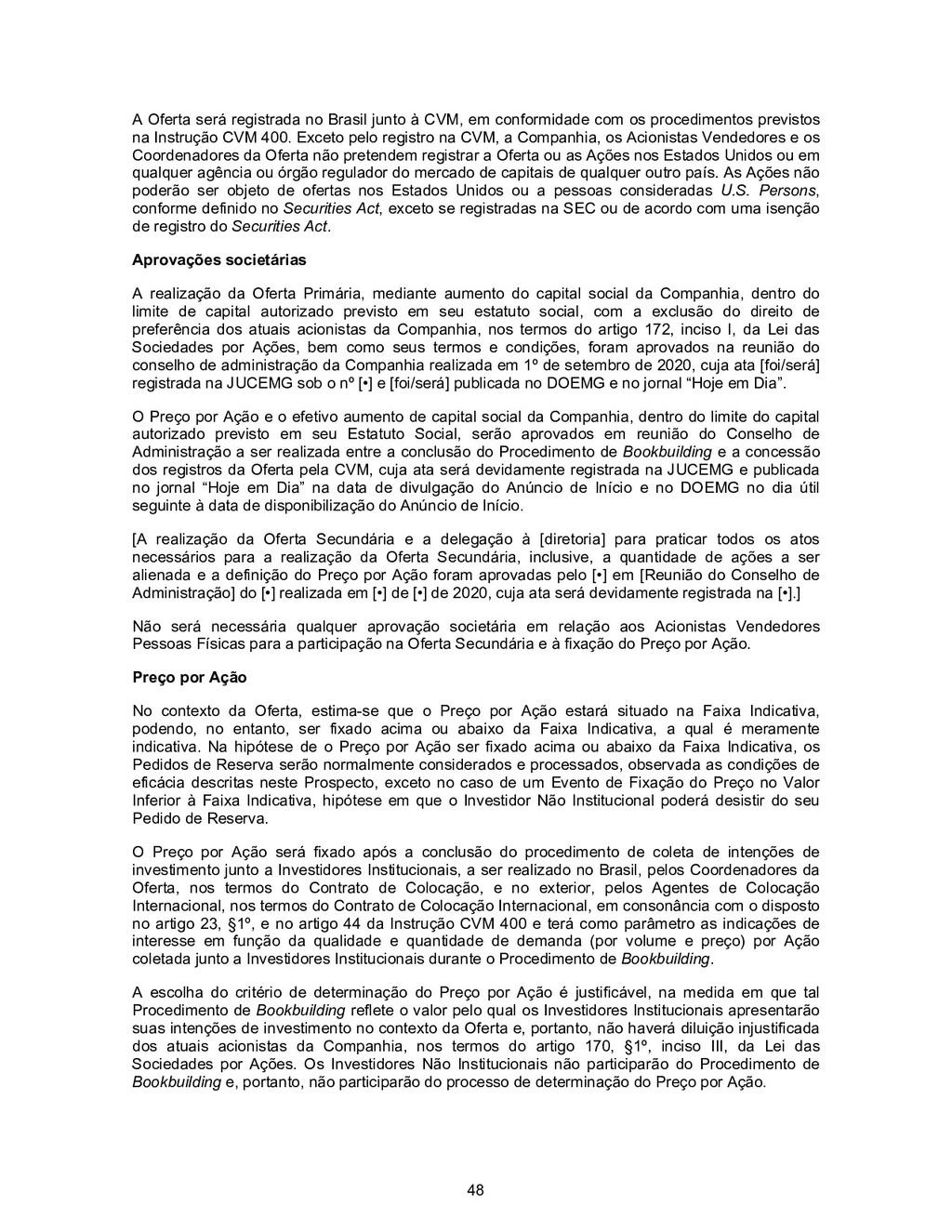 48 A Oferta será registrada no Brasil junto à C...