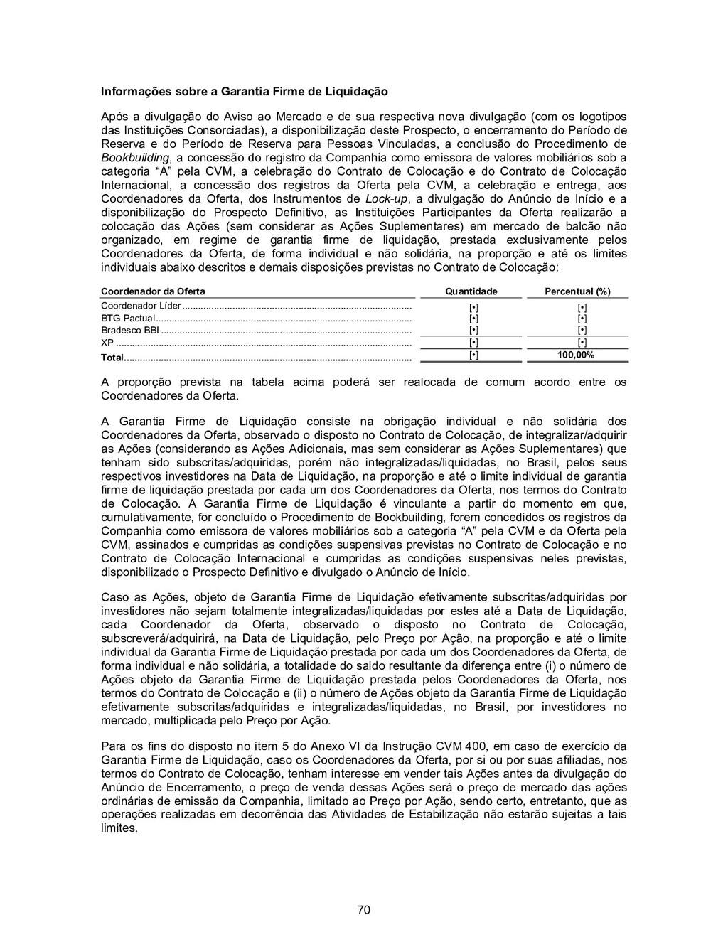70 Informações sobre a Garantia Firme de Liquid...