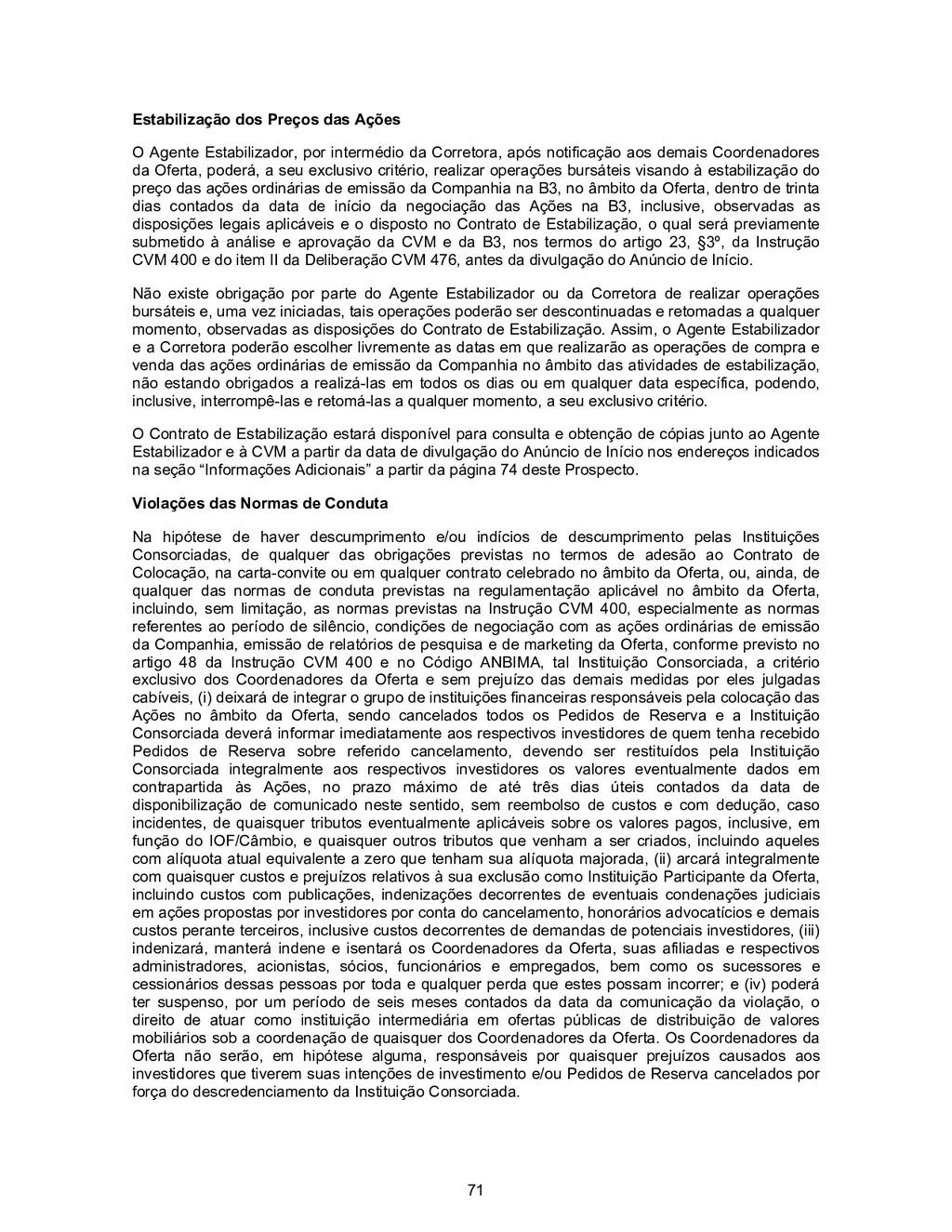 71 Estabilização dos Preços das Ações O Agente ...