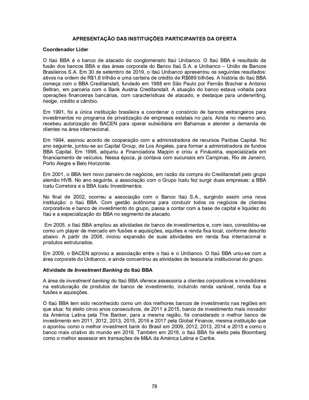 78 APRESENTAÇÃO DAS INSTITUIÇÕES PARTICIPANTES ...