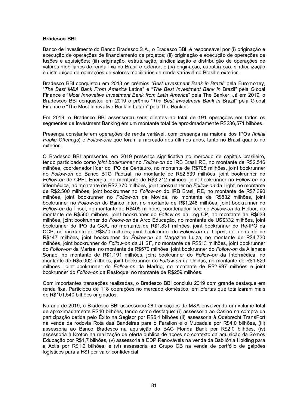 81 Bradesco BBI Banco de Investimento do Banco ...