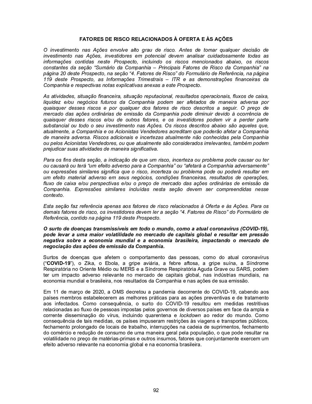 92 FATORES DE RISCO RELACIONADOS À OFERTA E ÀS ...