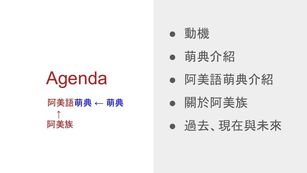 Agenda ● 動機 ● 萌典介紹 ● 阿美語萌典介紹 ● 關於阿美族 ● 過去、現在與未來...
