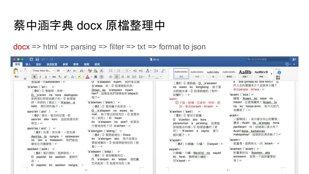 蔡中涵字典 docx 原檔整理中 docx => html => parsing => fil...