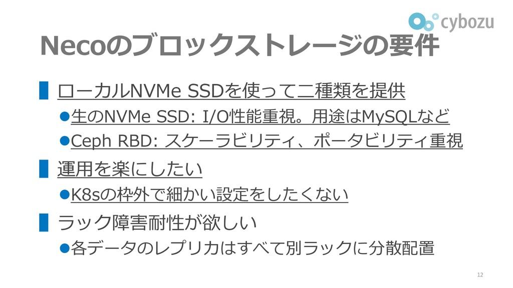 Necoのブロックストレージの要件 ▌ローカルNVMe SSDを使って二種類を提供 ⚫生のNV...