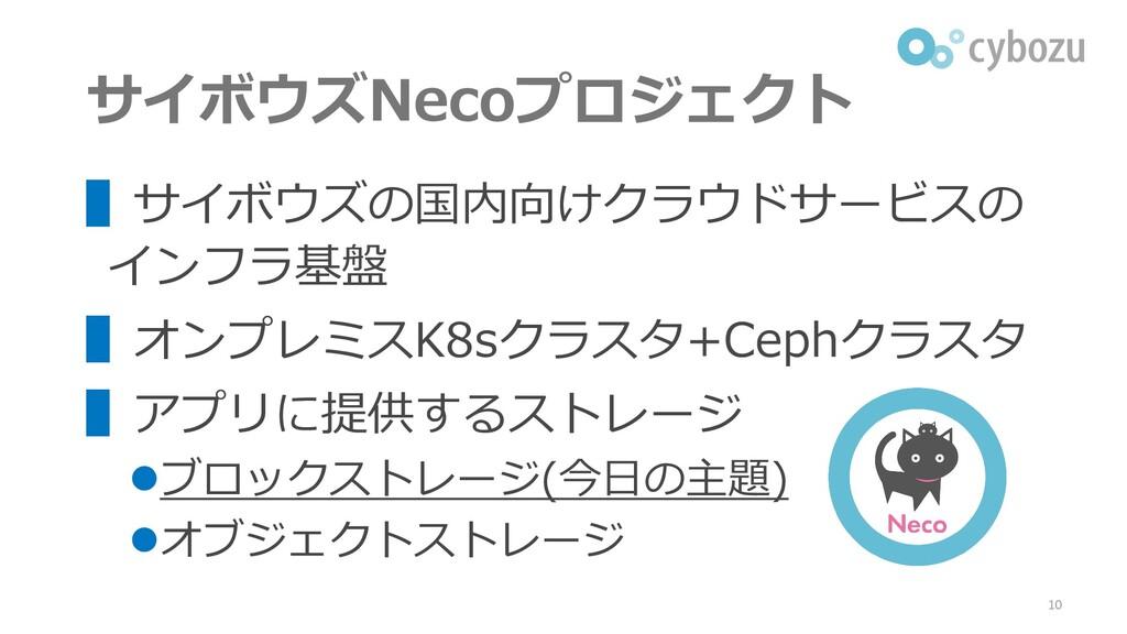 サイボウズNecoプロジェクト ▌サイボウズの国内向けクラウドサービスの インフラ基盤 ▌オン...