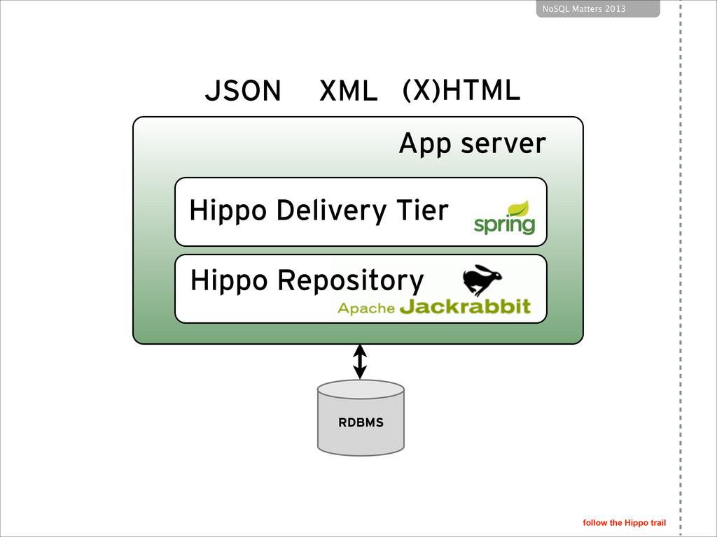 follow the Hippo trail NoSQL Matters 2013 RDBMS...