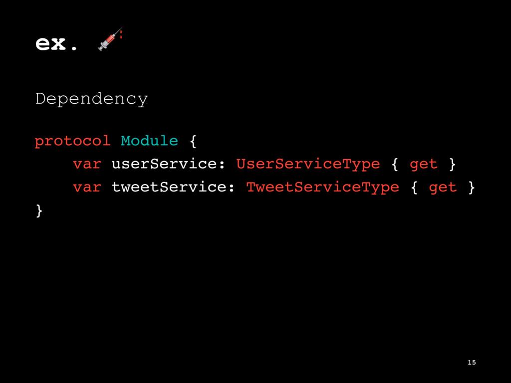 ex. ! Dependency protocol Module { var userServ...