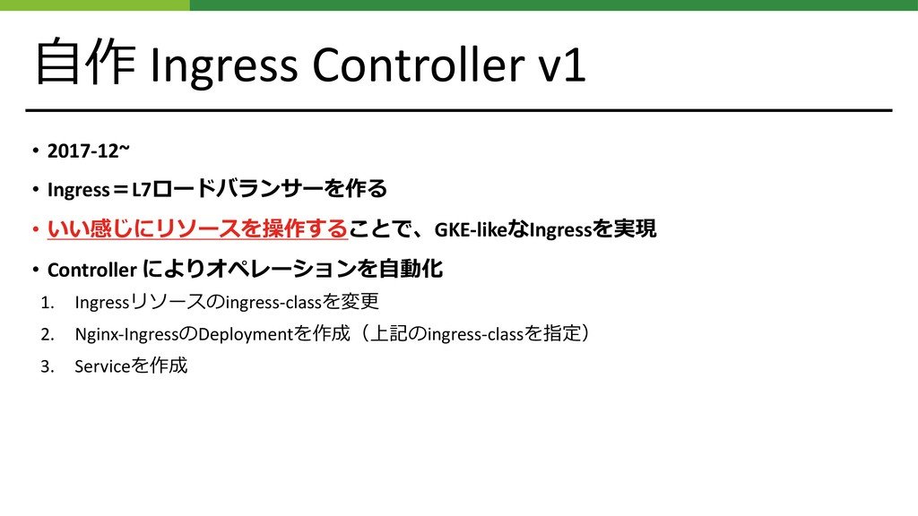 ⾃作 Ingress Controller v1 • 2017-12~ • Ingress=L...