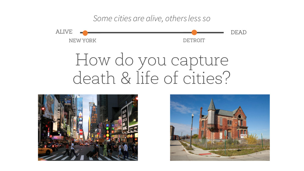 How do you capture death & life of cities? Some...