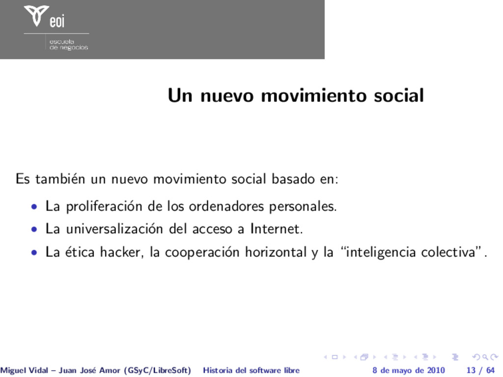 Un nuevo movimiento social Es tambi´ en un nuev...