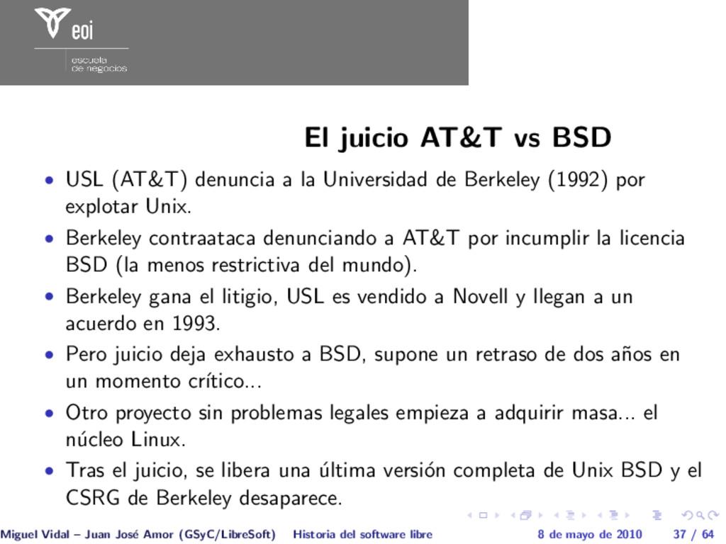 El juicio AT&T vs BSD • USL (AT&T) denuncia a l...