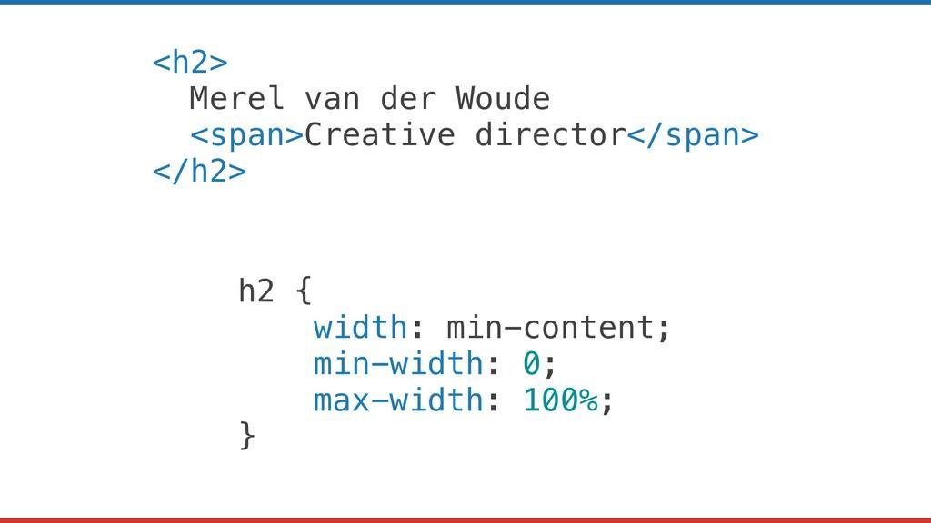 <h2> Merel van der Woude <span>Creative directo...
