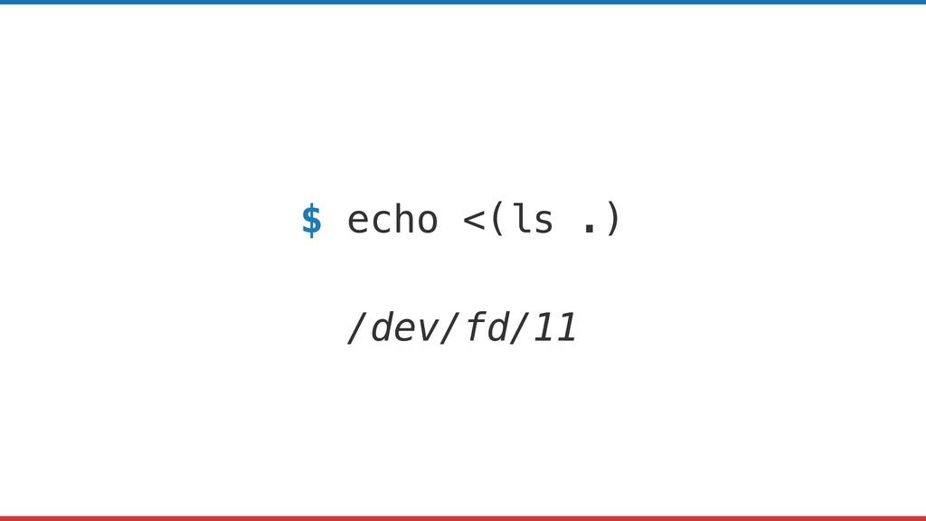 $ echo <(ls .) /dev/fd/11