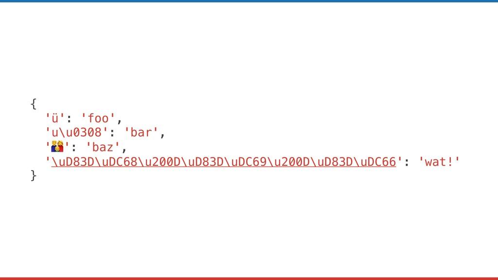 { 'ü': 'foo', 'u\u0308': 'bar', '': 'baz', '\uD...