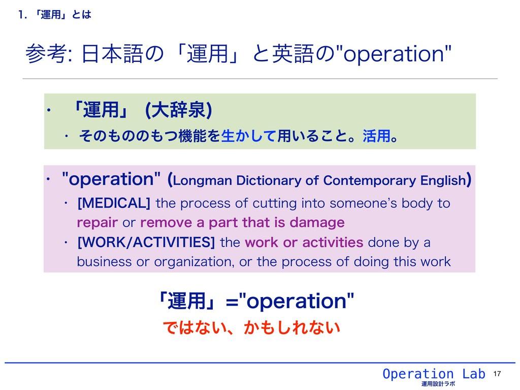 Operation Lab ӡ༻ઃܭϥϘ ߟຊޠͷʮӡ༻ʯͱӳޠͷPQFSBUJPO...