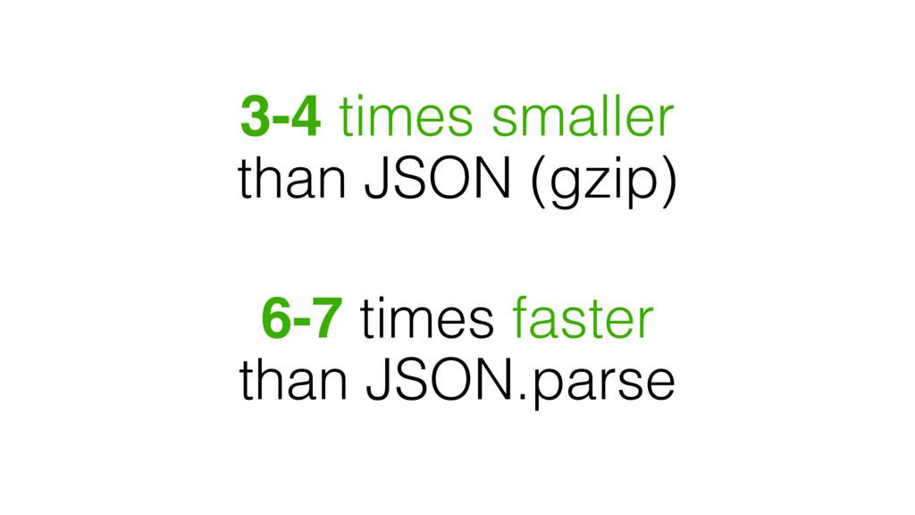 3-4 times smaller than JSON (gzip) 6-7 times fa...