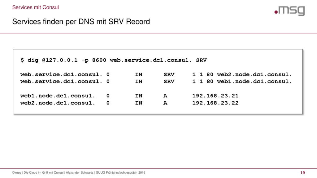 Services mit Consul Services finden per DNS mit...