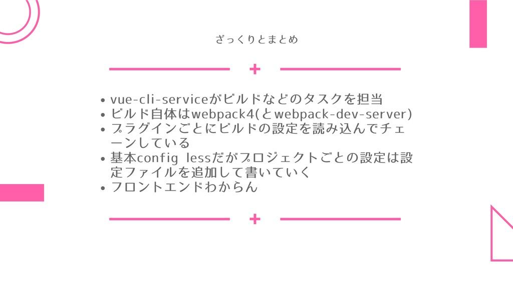 vue-cli-serviceがビルドなどのタスクを担当 ビルド⾃体はwebpack4(とwe...