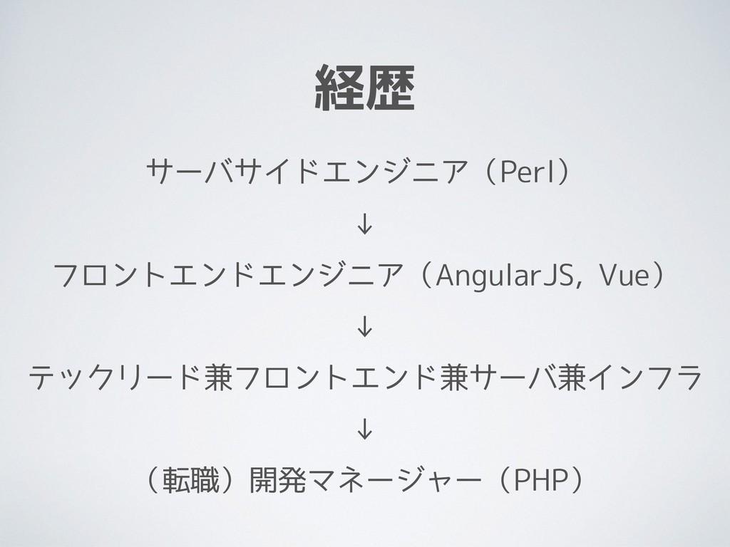 経歴 サーバサイドエンジニア(Perl) ↓ フロントエンドエンジニア(AngularJS, ...