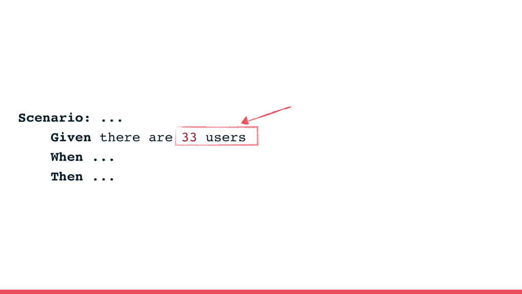 Scenario: ... Given there are 33 users When ......