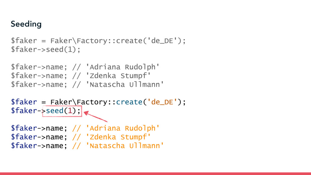 Seeding $faker = Faker\Factory::create('de_DE')...