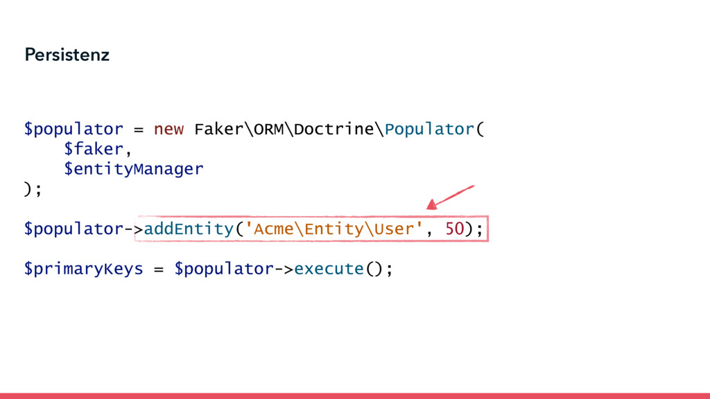 $populator = new Faker\ORM\Doctrine\Populator( ...