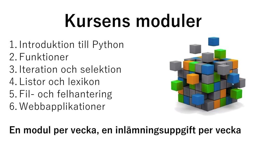 Kursens moduler 1. Introduktion till Python 2. ...