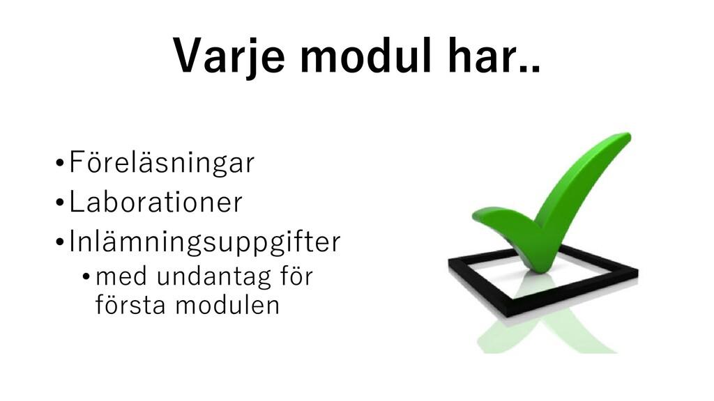 Varje modul har.. •Föreläsningar •Laborationer ...