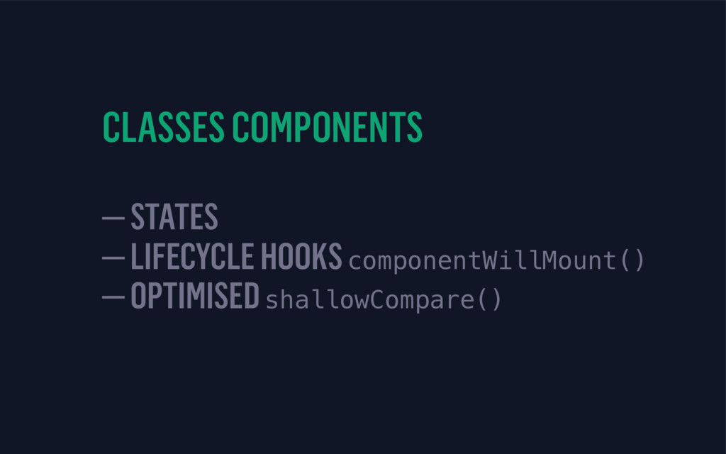 CLASSES COMPONENTS 